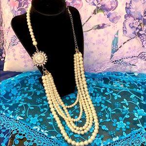 Vintage Glass Pearl & Rhinestone Necklace